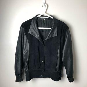 Vintage Black Leather & Suede Bomber Jacket